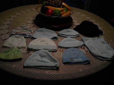 Lot of 11~ Baby Boy 10 Hats & 1 Burping Cloth Newborn - 9 Mo & One Size