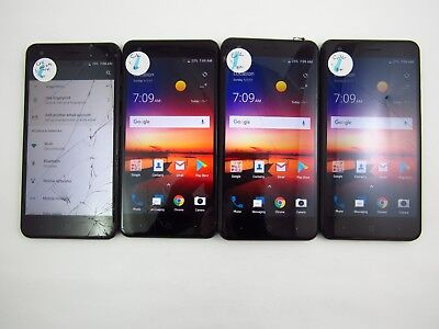 Lot of 4 Cracked ZTE Blade X Z965 Cricket Check IMEI 5CR 1319