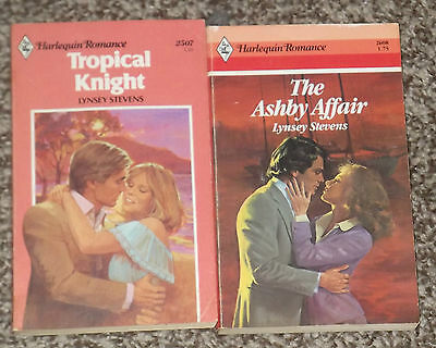 LOT OF 2 LYNSEY STEVENS HARLEQUIN ROMANCE VINTAGE BOOKS 1980's