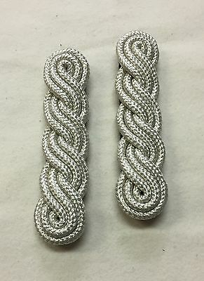 Silver 3 Ply Shoulder Cords, Triple Twist, Army, Military, Officers, Dress