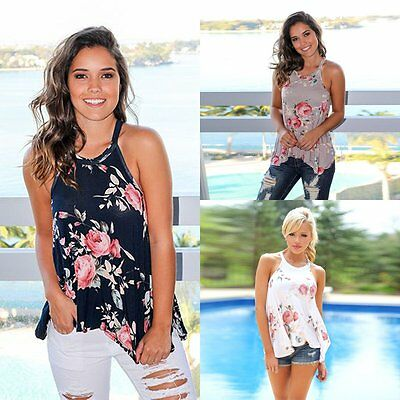 Fashion Women Summer Floral Vest Tops Sleeveless Blouse Casual Tank Tops T-Shirt