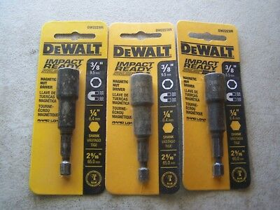 "DEWALT DW2223IR Impact Ready Magnetic 3/8"" Nut Drivers (3 Pack) New"