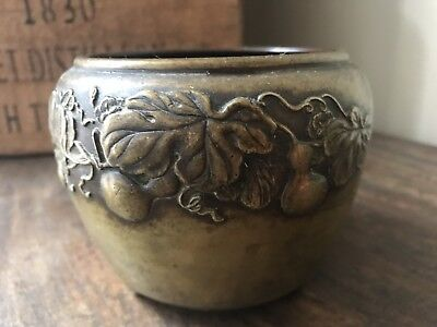 Vintage Chinese Bronze Censor Bowl Decorated With Pears And Stamp To Base