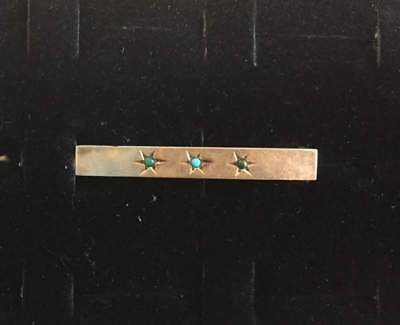 Vtg ANTIQUE Brooch Pin Bar Victorian Turquoise Gold Plated Jewelry lot k