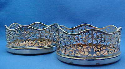 Two Stunning Early George Iii Sterling Silver Decanter Coasters London 1770