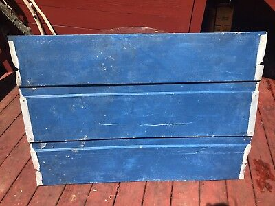 "Vintage RETRO BLUE tin Aluminum  Roof Shingle Tile piece 44"" X 30.5 industrial"