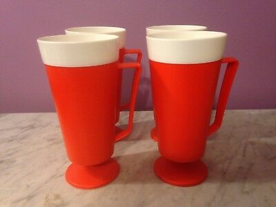 Set of 4 Vintage Red Plastic Tumblers with Handles                      gb2
