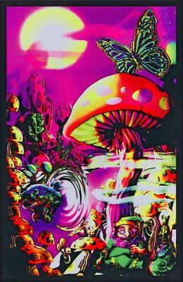 62223 Generic Magic Valley Trippy Mushrooms Blacklight FRAMED CANVAS PRINT UK