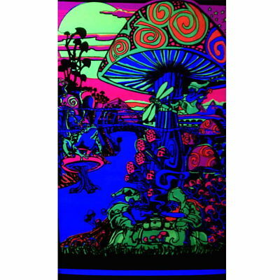 62595 Generic Magic Valley Trippy Mushroom Black light FRAMED CANVAS PRINT UK