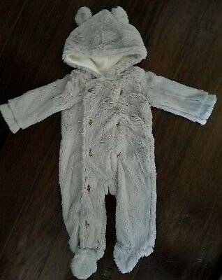 MUD PIE Baby SZ 0-6 Months ~ Gray Faux-Fur 1-PIECE ~ Cute Ears and Tail ~ EUC!