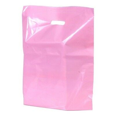 Pink Plastic Shopping Bags Low Density Gift Store Diecut Handles 9x12 Lot 100