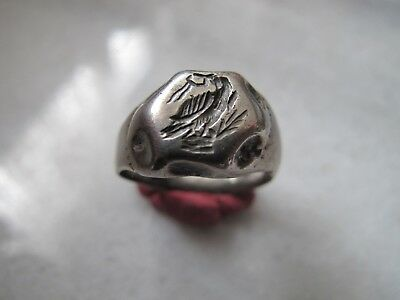 Antique Medieval Silver Ring Engraved Eagle with laurel wreath