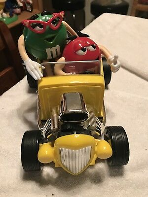 M&M Collectible Rebel Without A Clue Yellow Hot Rod Roadster Candy Dispenser Car