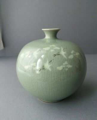 korean Crackle Celadon Vase with Cranes.