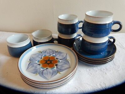 Denby Chatsworth 14 piece Plates, Cups, Saucers, Sugar, Cream