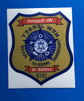 2018 NEW JERSEY FRATERNAL ORDER OF POLICE SUPPORTER PBA Decal INSIDE