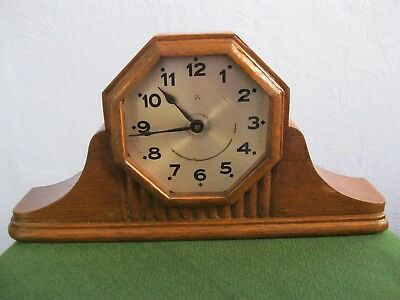 Vintage Octagonal Mechanical Wooden Mantel Clock, Working Order, Case Minor A/f.