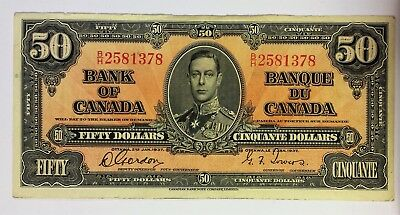 Bank of Canada 1937 $50 Gordon/Towers in VF30  condition. N1216