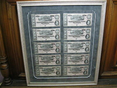 Lot of 10 UNC Framed Consecutive Serial Numbers 1864 CSA T-68 Confederate Notes