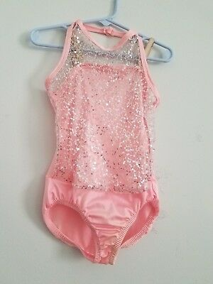 Girls Child Small/med Pink & Silver Sequin Curtain Call Costumes Dance Body Suit