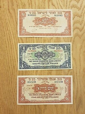 Israel , 1+5  lirot 1948 anglo + 5 lirot 1952 , very nice conditions , nice lot