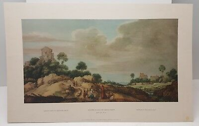 Vintage Lithograph Art Print Landscape in the Netherlands