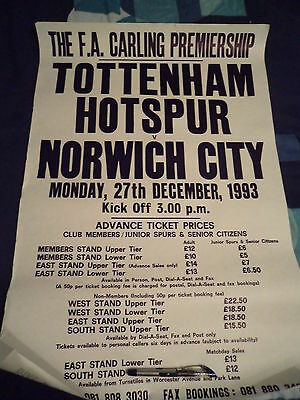 Tottenham Hotspur Ticket Office Poster V Norwich Original 93/1994 Season