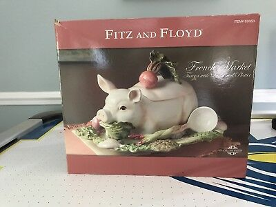 Fitz and Floyd French Market Tureen with Ladle and Platter