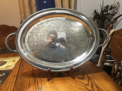 """Vintage Wm Rogers Large Silver Plate Oval Butler Serving Tray W Handles #881 24"""""""