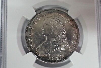 1827 Square 2 Bust Half Dollar O117 NGC AU Details Cleaned