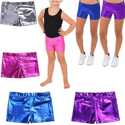 Kid Girls Metallic Leather Dance Shorts Gymnastic Shiny Bottoms Sports Workout