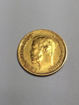 1902 RUSSIAN 5 Roubles Gold Coin
