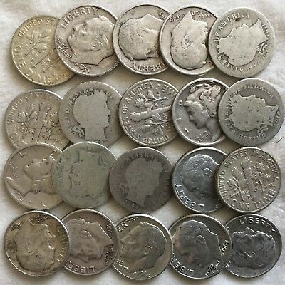 Lot of 20 Mixed Barber/Mercury/Roosevelt Dimes US 90% Silver
