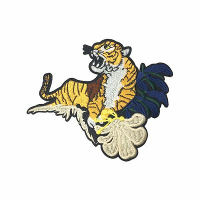 Roaring Tiger In Leaves R (Iron On) Embroidery Applique Patch Sew Iron Badge