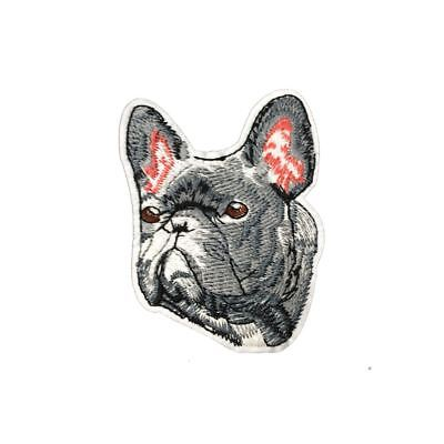 Grumpy Grey French Bulldog (Iron On) Embroidery Applique Patch Sew Iron Badge