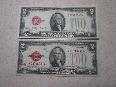 2 - 1928 G $2 United States Notes (1 Star Note, I Normal) Ungraded Red Seal