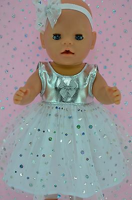 """Play n Wear Doll Clothes To Fit 17"""" Baby Born WHITE/SILVER SEQUIN DRESS~HEADBAND"""
