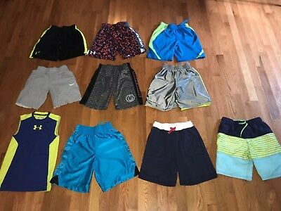 Large Lot Of Boys Athletic Shorts,Shirt, Under Armour,Nike,Reebok, EUC