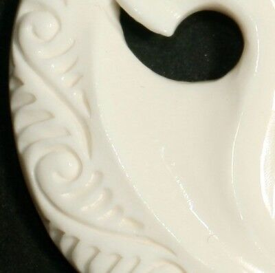 Huge Manaia Bone Carving Fused With Fish Hook Shape Protects Wearer N1