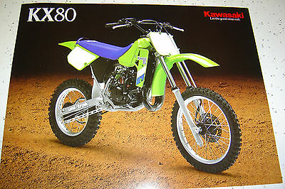 1 Kawasaki 1987  KX 80 Brochure  NOS 2 pages,