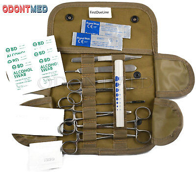 Tactical Coyote First Aid Surgical Kit Military Molle Pouch Complete Set 19 pcs