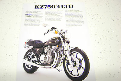 1 Kawasaki KZ750/4 LTD,1980 NOS. Sales Brochure.3 Pages.