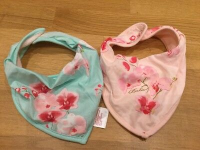 Baby Girls Ted Baker Pink Blue Green Orchid Floral Set Of Dribble Bibs Glitter