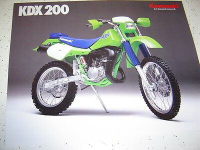 1988 Kawasaki KDX200 NOS Sales Brochure 2 Pages.