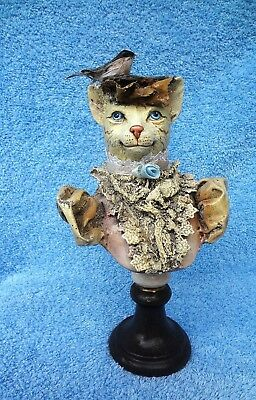 FANCY CAT BUST Fascinator Hat Frilly Clothing Wood Base Katherine's Collection