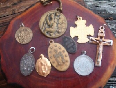 Vintage Lot of 9 Religious Medals/Pendants Pope Pius Xll, Mother Mary, St. Jude+
