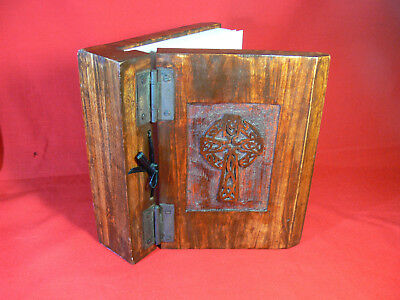 HANDMADE Decorative CARVED CELTIC CROSS Wooden Writing Book/Journal/Diary NEW