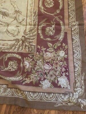 Antique Aubusson Tapestry Rug Wool Handmade Beautiful Cut LARGE