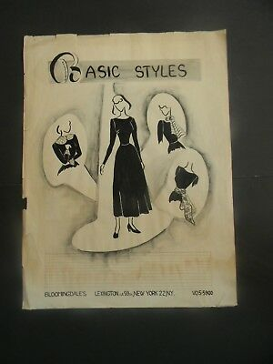 1940's LORD & TAYLOR & BLOOMINDALE'S ORIGINAL ADVERTISING & FASHION ART