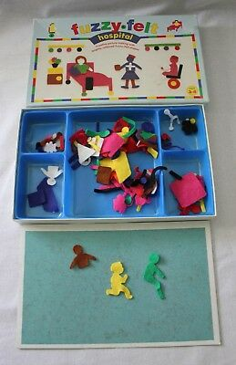 VINTAGE 1980s ~ Children's FUZZY FELT HOSPITAL Game ~ Made in UK  Incomplete